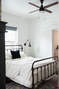 White and Black Farmhouse Bedroom
