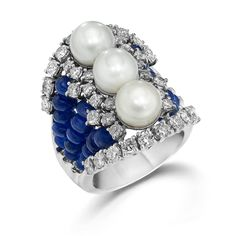 Sapphire Diamond and Pearl Ring