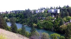 Looking at Spokane's Browns Addition and river From North bank edge.