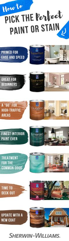 Need help finding the right paint or stain for your project? You're in luck. We've put together a quick and easy guide that can help you find the perfect paint or stain for those high-traffic areas in your home, your deck renovation project or the even the perfect paint for eliminating odors caused by pets, cooking and smoke. With this guide, it's easy to find the right paint for your project.