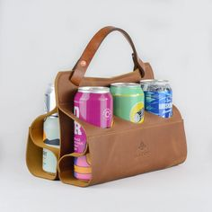 Wilboro Leather Beer caddy and carrier are a functional and fashionable way to carry your beer, cider and beverage cans. Made in Ottawa Canada.