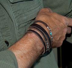 Spiral Jetty Mens cuir Bracelet argent Sterling par Kiss2Keep, $77.00