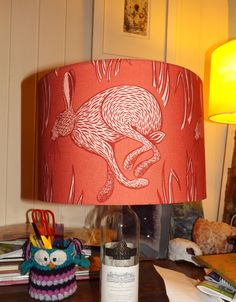 The red hare lampshade I made at ArtisOn, with Georgia Wilkinson. Love it!