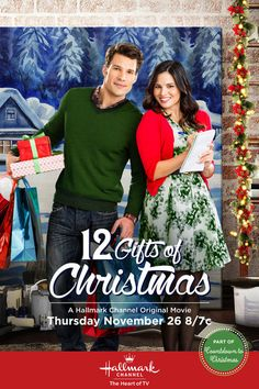 // 12 Gifts of Christmas with Katrina Law, Aaron O'Connell & Donna Mills Hallmark Channel, Películas Hallmark, Films Hallmark, Hallmark Holiday Movies, Christmas Movies On Tv, Hallmark Holidays, Christmas Shows, Christmas 2015, Christmas Poster