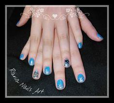 Nails blue orkwmosia