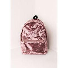 Missguided Velvet Backpack ($43) ❤ liked on Polyvore featuring bags, backpacks, pink, day pack backpack, pink bag, velvet bags, pink backpacks and knapsack bag