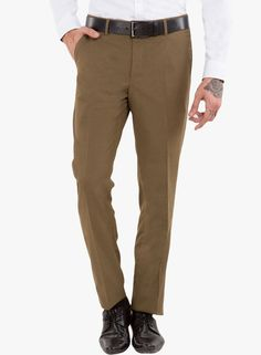 Buy Black Coffee Green Solid Formal Trousers for Men Online India, Best Prices…