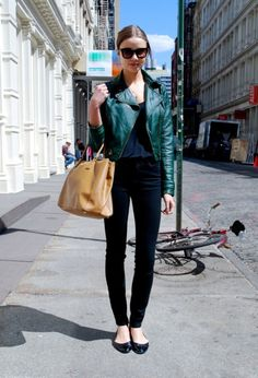 Shop this look for $73:  http://lookastic.com/women/looks/biker-jacket-and-tote-bag-and-sleeveless-top-and-skinny-jeans-and-ballerina-shoes/2909  — Dark Green Biker Jacket  — Brown Leather Tote Bag  — Black Sleeveless Top  — Black Skinny Jeans  — Black Leather Ballerina Shoes