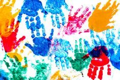 colorful prints of childrens hands