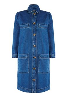 This heavy-weight denim dress can also be worn as a long-line jacket and features a peak collar, button-through front, four front pockets and cropped sleeves. Height of model shown: 5ft 10 inches/178cm. Model wears: UK size 10.Fabric:Main: 100.0% Cotton.Wash care:Machine WashProduct code: 02350969 £52.00