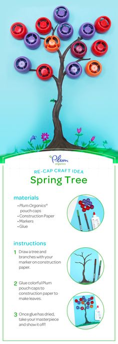 Springs in full bloom with our latest re-cap craft!  #PlumOrganics #Pinterest #Crafts #Kids