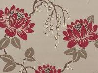 Kimura Wallpaper Lacquer Red - Kimura Wallpapers : Romo Designer Fabrics & Wallcoverings, Upholstery Fabrics