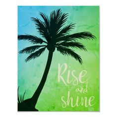 Tropical palms, palm tree poster