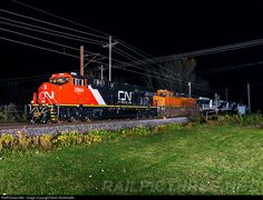 Canadian National Railway's new ES44AC 2904 is running mileage on the General Electric Transportation System's test track on the night of November 3. The consist includes BNSF ES44C4 6970, and Roy Hill Australia ES44ACi's 1012, 1011, 1003 and 1001.