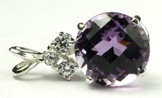 SP087, 12mm, 8 ct Amethyst, 925 Sterling Silver Pendant * Stone Type - Amethyst * Approximate Stone Size - 12mm round * Approximate Stone Weight - 8 ct  * Jewelry Metal - Solid .925 Sterling Silver  * Our Warranty - A full year on workmanship  * Our Guarantee - Totally unconditional 30 day guarantee