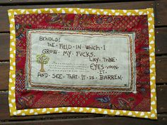 Hand Embroidered Field of Fucks medieval style by TinyWorldsonEtsy