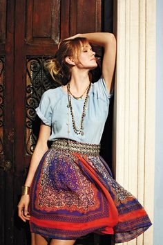 solid top + patterned skirt.