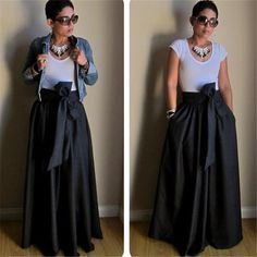 Cotton Bow Belt A-line Maxi Skirts Customized Plus Size XXS-7XL