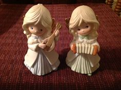 Figurine Set HOMCO 2 Musician Girl Angel Christmas #5504 Hand Painted Porcelain #Homco