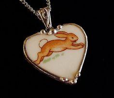Bunnykins running bunny broken china jewelry heart pendant necklace