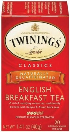 Twinings English Breakfast Tea Decaffeinated Tea Bags Boxes (Pack of It is a rich and satisfying robust black tea. English Tea Time, Decaf Tea, Twinings Tea, Tea Blends, How To Make Tea, Yummy Drinks, Coffee Drinks, Gourmet Recipes