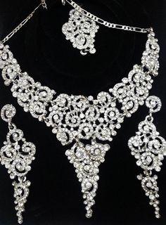 Bollywood Indian Jewelry Silver Bridal Wedding by PrernasJewelPort, $19.00