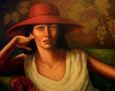"RED HAT 2 by Mollie Erkenbrack Oil ~ 16"" x 20"" (SOLD)"