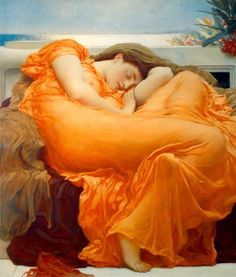 Flaming June - Lord Leighton (1895). Some might call it kitsch but it's one of my favorite paintings.