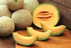 """How to purchase Fresh Vegetables/Fruits Cantaloupe (Muskmelons): First, the stem should be gone, leaving a smooth symmetrical, shallow base called a """"full slip."""" If all or part of the stem base remains, or if the stem scar is jagged or torn, the melon is probably not fully matured. Second, the netting, or veining, should be thick, coarse, and corky, and should stand out in bold relief over some part of the surface. Third, the skin color (ground color) between the netting should have changed…"""