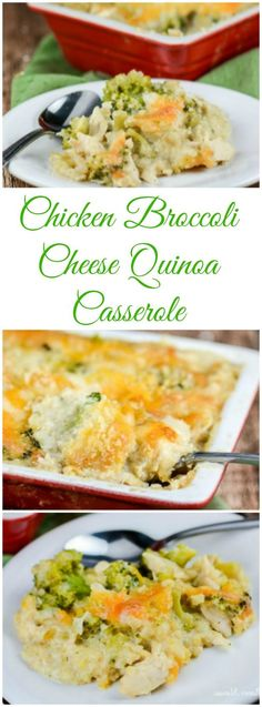 Broccoli Cheese Quinoa Casserole is a healthy twist on the classic Chicken Broccoli and Rice Casserole in that it uses high protein, gluten free quinoa instead of rice, and has no canned soups. High Protein Recipes, Healthy Recipes, Gf Recipes, Healthy Cooking, Gluten Free Recipes, Chicken Recipes, Dinner Recipes, Healthy Eating, Cooking Recipes