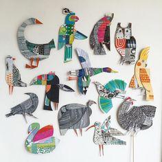 Illustration by Clare Youngs ************* - Top Paper Crafts Art For Kids, Crafts For Kids, Arts And Crafts, Paper Crafts, Art Children, Arte Elemental, Paper Birds, Paper Artist, Art Club