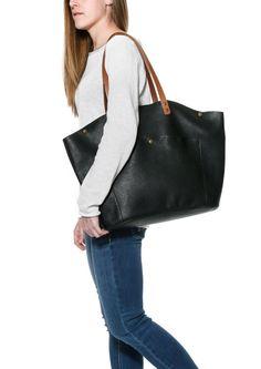 89eadaf22dcb Large black leather tote / Leather shopper tote bag XL / Big shoulder  handbag / women laptop leather bag / Leather tote oversized