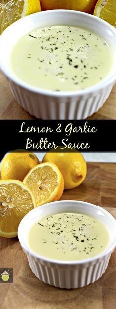 Lemon and Garlic Butter Sauce. This is delicious served with seafood, fish, chicken or pork. Very easy and quick to make too. ( If Sauce is to thin thicken with cornflour to taste. Butter Cream Sauce, Lemon Garlic Butter Sauce, Lemon Cream Sauces, Lemon Sauce For Fish, Creamy Sauce For Chicken, Butter Sauce For Pasta, Seafood Butter Sauce Recipe, White Sauce For Fish, Lemon White Wine Sauce