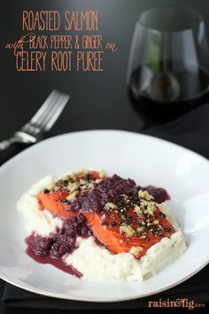 roasted salmon with black pepper and ginger on celery root puree