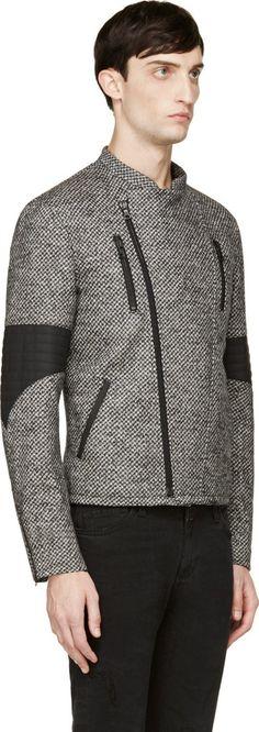 Public School Black & White Herringbone Biker Jacket