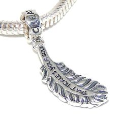 Solid 925 Sterling Silver Dangling 'Feather/'Create a Life That Tickles Your Soul'' Charm Bead 675 for European Snake Chain Bracelets *** Click image for more details. (This is an affiliate link and I receive a commission for the sales)