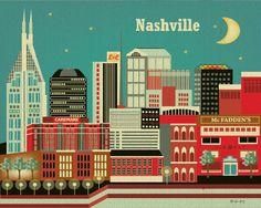 Nashville, Tennesse Skyline -  8 x 10 Wall Art Poster Print for Home, Nursery, and  Office Top Seller - Style E8-O-NA. $19.99, via Etsy.-Nashville
