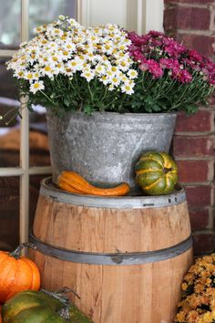 whiskey barrel and galvanized bucket planter full of pumpkins and mums
