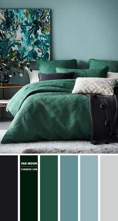 Green Bedroom Colors, Bedroom Wall Colors, Bedroom Color Schemes, Blue Bedroom, Bedroom Decor, Green Color Schemes, Grey Teal Bedrooms, Relaxing Bedroom Colors, Green Bedroom Design