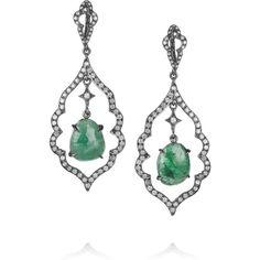 Loree Rodkin 18-karat rhodium white gold, diamond and emerald earrings ($9,145) ❤ liked on Polyvore