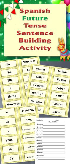 Great practice of making complete sentences in the #Spanish #future #tense! Students create logical sentences from the subjects, verbs, verb endings, and sentence endings cards provided, one type of card per sentence. Excellent formative assessment!