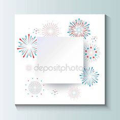 Download - Festive paper frame 3D. Fireworks, stars, confetti banner background in national American flag colors. Square frame white paper cut for text. Vector white paper. For celebrate Independence American Holiday, Memorial day, Labor Day design. Template — Stock Illustration #158984646