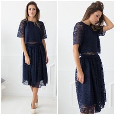 Delorra Lace Navy Top and Skirt 💞 • Top - 23.50€, skirt - 27.70€ • Search: 🔎 top - 44160, skirt - 44162 • Navy #imagofashion #navylaceset