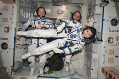 https://flic.kr/p/rLdgNZ | iss043e174193 | ISS043E174193 (05/06/2015) --- NASA astronaut Terry Virts (left) Commander of Expedition 43 on the International Space Station along with crewmates Russian cosmonaut Anton Shkaplerov (center) and ESA (European Space Agency) astronaut Samantha Cristoforetti on May 6, 2015 perform a checkout of their Russian Soyuz spacesuits in preparation for the journey back to Earth.