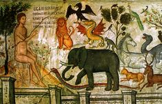 Adam names the animals, Theophanes at Meteora