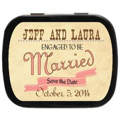 Rustic Personalized Save the Date Mint Tins - Remind family & friends at your Engagement Party!
