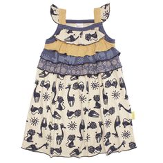 Indigo Safari Layer Dress. 100% cotton. Handmade