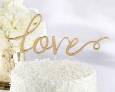 Love Wedding Cake Topper in Gold - love it! Affordable Elegance Bridal -