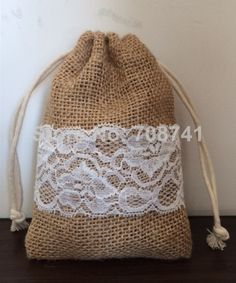 """Aliexpress.com : Buy Size: 4'X6"""",50pcs/lot, Jute burlap drawstring bag with lace for wedding, jute pouch, custom size acceptable from Reliable gift bags wedding suppliers on LIVE GREEN BAGS"""