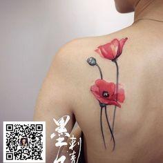Impressive Poppy Flowers Tattoo On Left Back Shoulder